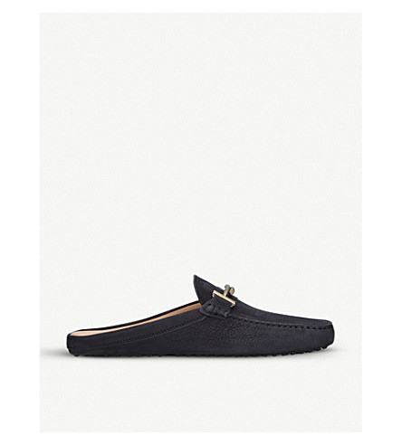 TODS Gommino nubuck-leather backless moccasins (Navy