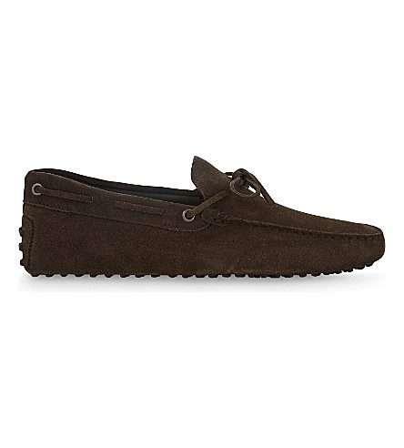 TODS 122 suede driving shoes (Dark+brown