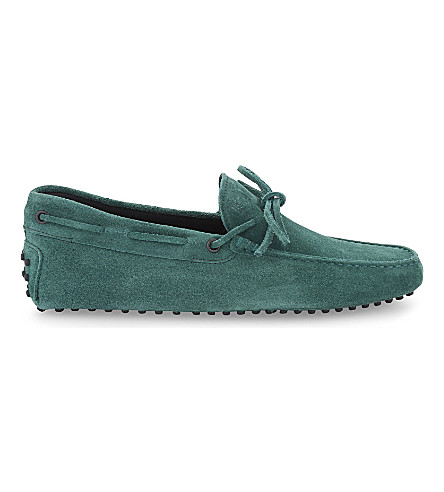 TODS 122 tie suede driving shoes (Green