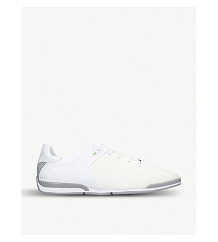 BOSS Saturn leather and mesh trainers (White
