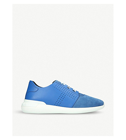 TODS T-perforated leather and suede runner trainers (Blue