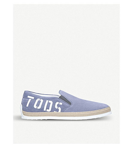TODS Raffia logo suede skate shoes (Pale+blue