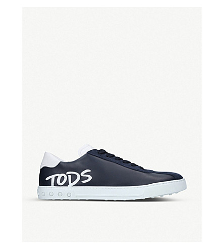 TODS Cassetta logo leather trainers (Navy