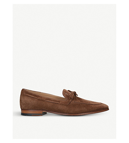 TODS Lacetto slip-on suede mocassins (Dark+brown