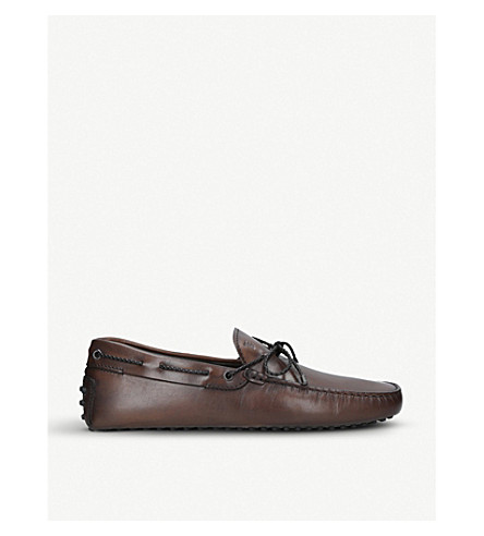 TODS Scooby Doo tie-detail leather driving shoes (Dark+brown
