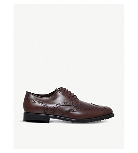 TODS Brogued leather derby shoes (Brown