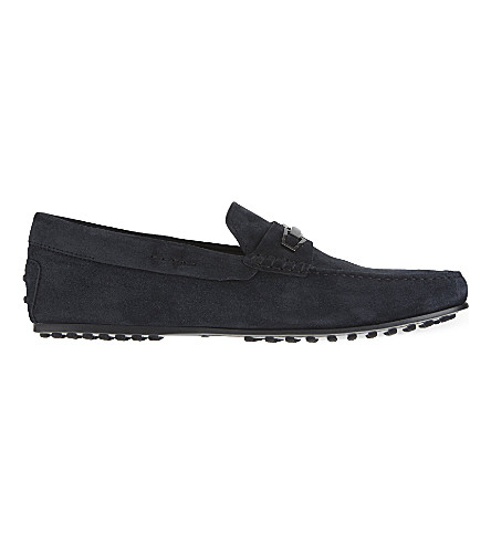 TODS City small clamp suede driving shoes (Navy