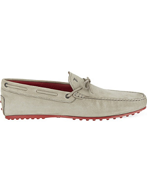 TODS Bright sole suede driving shoes