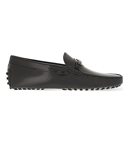 TODS Wood clamp leather driver shoes (Black