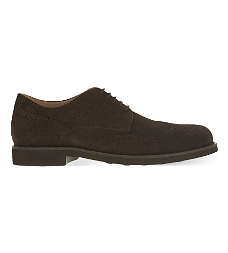 TODS Lite suede derby shoes (Dark+brown