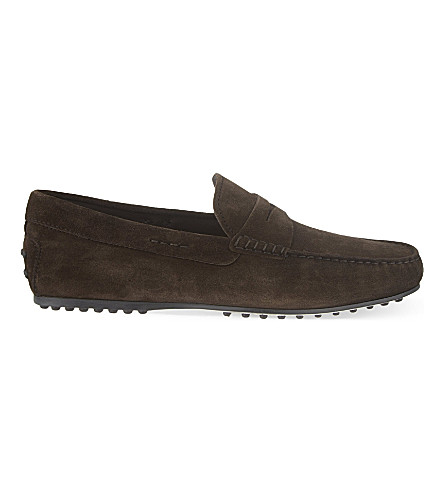 TODS Penny city suede driving shoes (Brown