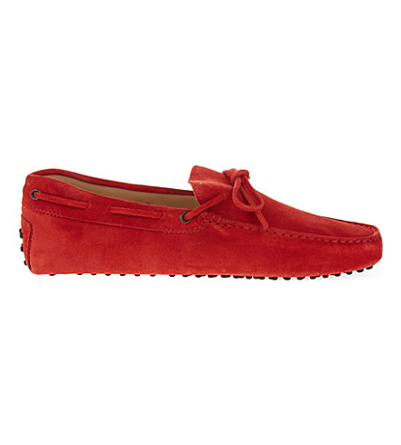 TODS Tie suede driving shoes (Red