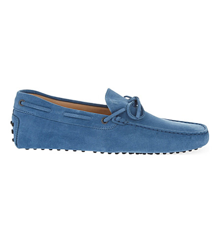 TODS Tie suede driving shoes (Pale+blue