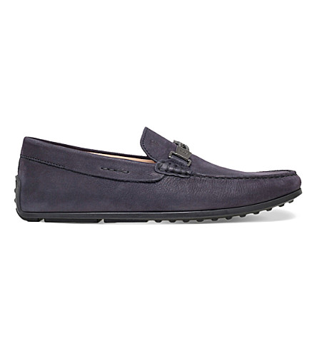 TODS Spider double-plait leather driving shoes (Navy