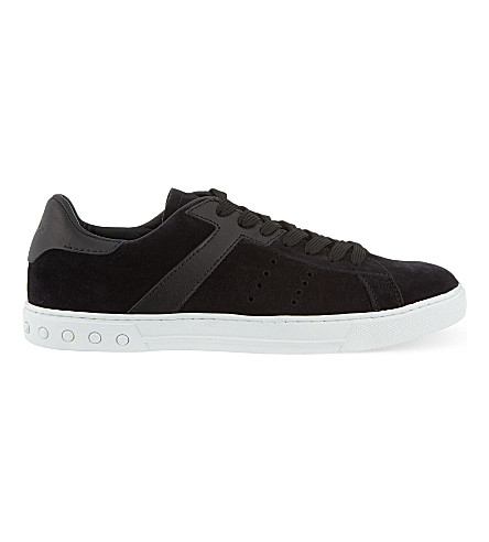 TODS Suede and leather tennis trainers (Black