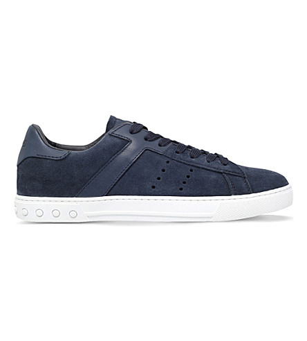 TODS Suede and leather low-top trainers (Navy