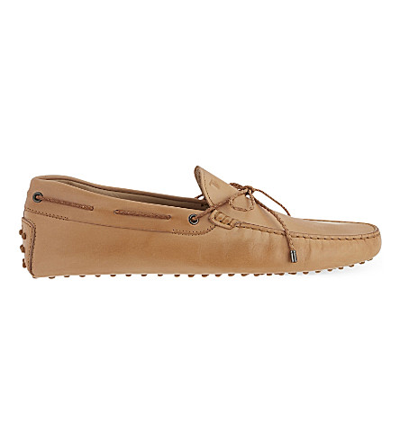 TODS Scooby Doo tie leather loafers (Tan