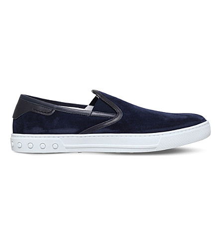 TODS Slip-on suede and leather skate shoes (Navy