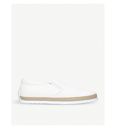 TODS Raffia-trim leather skate shoes (White