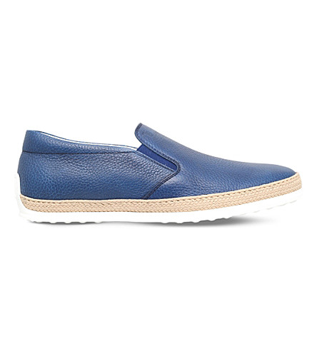TODS Raffia leather skate shoes (Blue