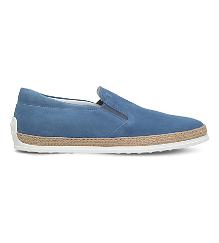 TODS Raffia suede slip ons (Pale+blue