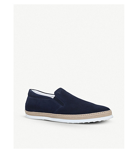 TODS Raffia suede skate shoes (Navy