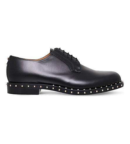 VALENTINO Rockstud studded leather derby shoes (Black