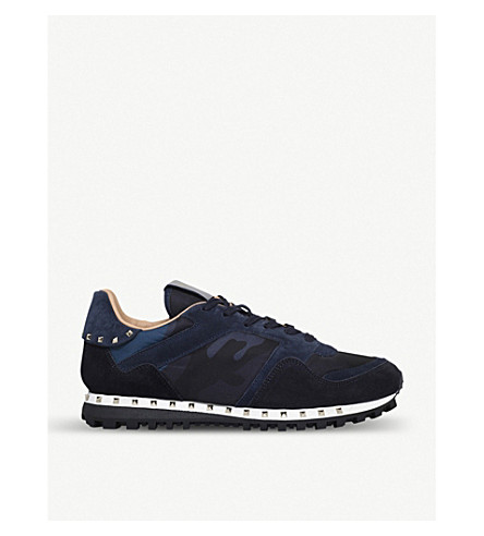 VALENTINO Studded camo-print trainers (Navy
