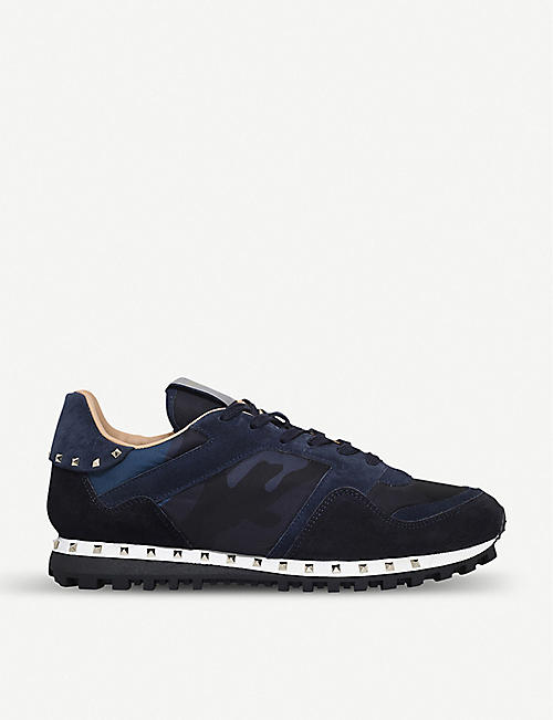Valentino Black Patent Leather & Mesh Sneakers
