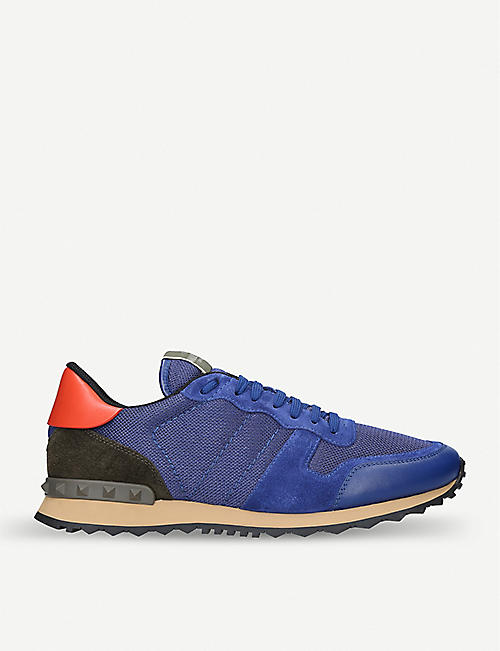 VALENTINO Rockrunner sports-mesh, leather and suede low-top sneakers