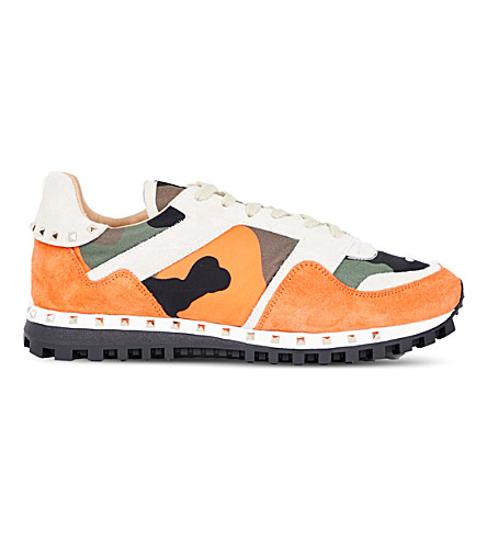 VALENTINO Camouflage-print suede and canvas trainers (Orange