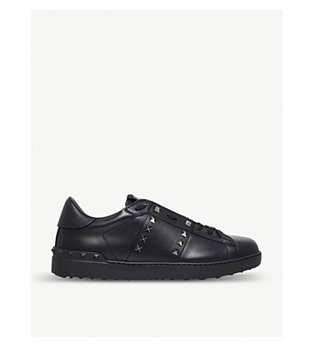 VALENTINO Rockstud studded leather tennis shoes (Black