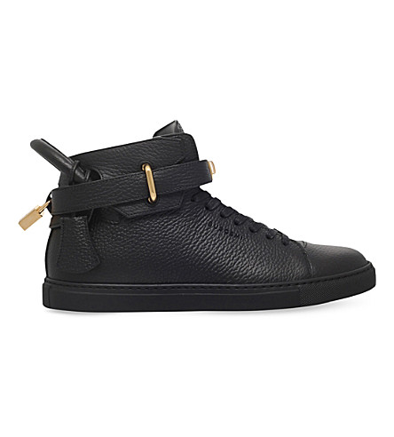 BUSCEMI 100mm grained-leather trainers (Black