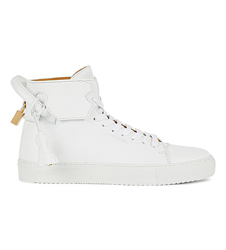 BUSCEMI 100mm grained-leather trainers (White