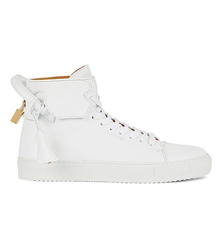 BUSCEMI 100mm 粒度皮革运动鞋 (白色