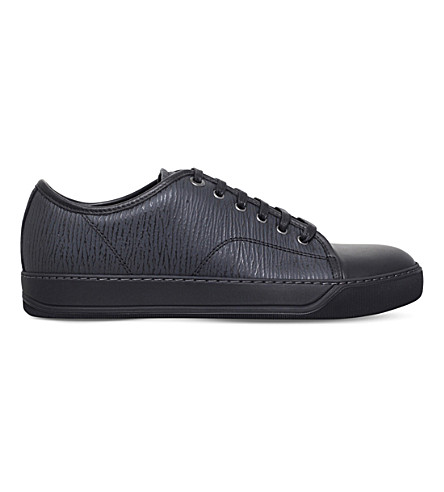 LANVIN Textured leather low-top trainers