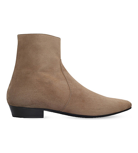 SAINT LAURENT Devon suede ankle boots (Tan
