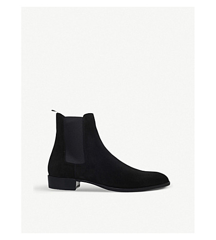 SAINT LAURENT Wyatt suede Chelsea boots (Black