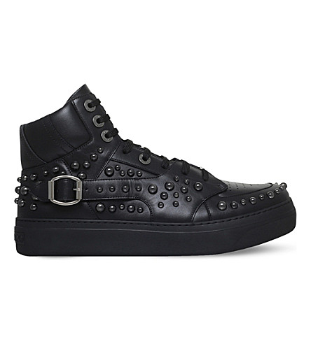 JIMMY CHOO Ruben studded leather hi-top trainers (Black