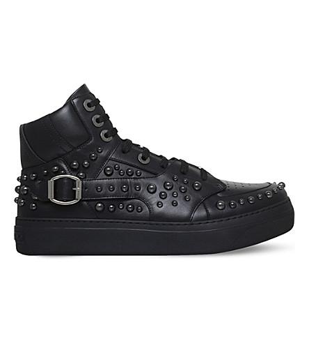 JIMMY CHOO Ruben studded leather hi-top sneakers (Black