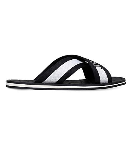 JIMMY CHOO Clive logo-detail grosgrain sandals (Blk/white