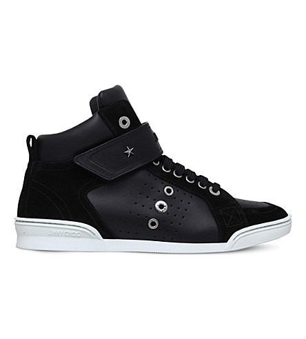 JIMMY CHOO Lewis leather high-top trainers (Black