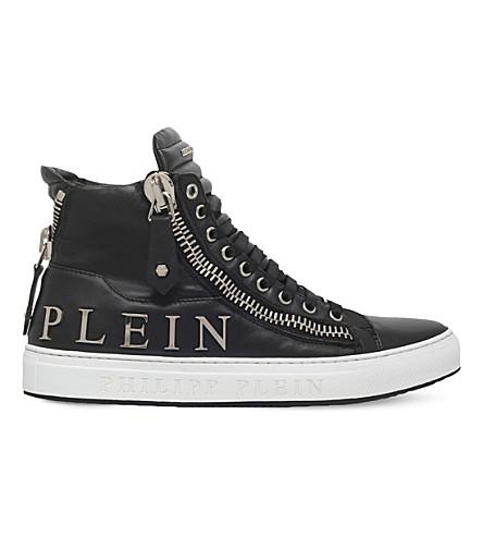 PHILIPP PLEIN Vibes embellished leather trainers (Black