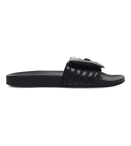 VERSACE Labyrinth quilted leather slide sandals (Black