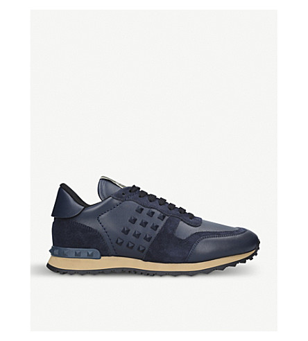 VALENTINO Rockstud leather and suede trainers (Navy
