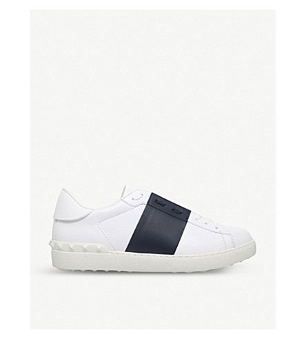 VALENTINO Open contrast-stripe leather trainers (White/navy
