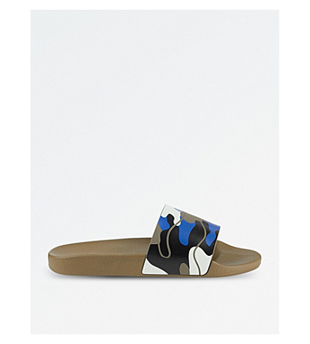 VALENTINO Camouflage-print rubber pool sliders (Blue+other