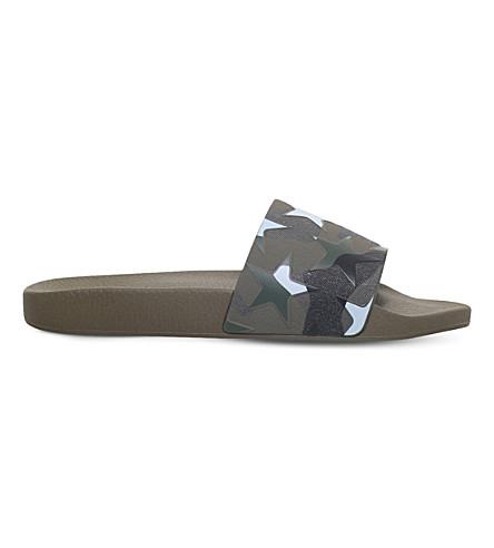VALENTINO Camo and star-print rubber slider sandals (Khaki