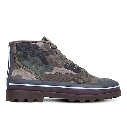 VALENTINO Camouflage high-top canvas trainers (Khaki