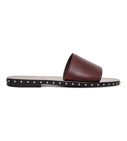 VALENTINO Rockstud leather slide sandals (Brown